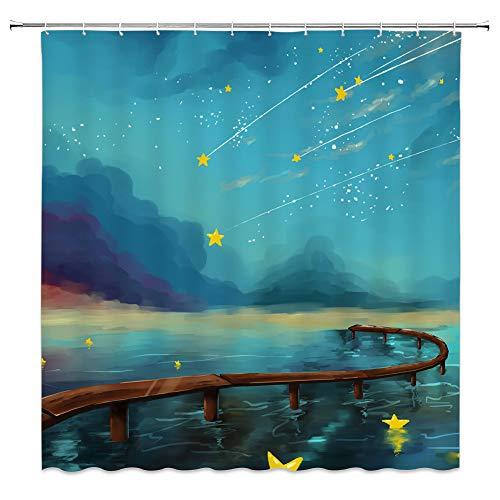 AMNYSF Cartoon Bilder Beliebten Element Stil Vorhang für die Dusche 177,8x 177,8cm Polyester-Schimmelresistent-Vorhänge, Wasserdicht, mit 12Haken Modern Multi 413 (April Showers-stoff)