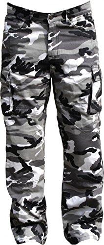 German Wear, Motorradjeans aus DuPont® Kevlar® stoff jeanshose Motorradhose Jeans mit Protektoren, militärfarbe camouflage, Jeansgröße:W32 / L32 (Camo Mischung)