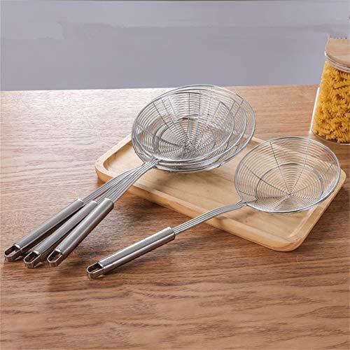 Edelstahl Asian Spider Sieb Kitchen SkimmerDurable Handle Und Spiral Mesh Basket-Spaghetti, Ravioli, Wok, Kochfilter, Speisensiebe, Fettabscheider (47.5cm*20cm) - Handle Wok