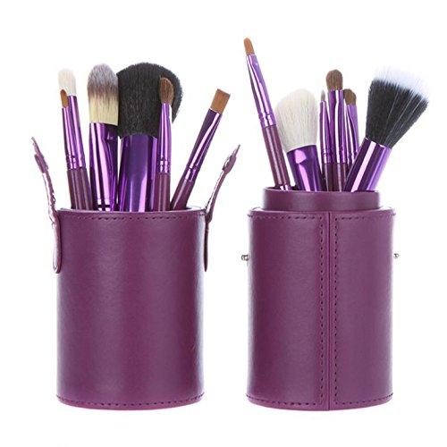 XUAN 12 PCs maquillage pinceau barillet installé pinceau poudre de fibre rose , purple
