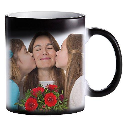 Zaubertasse mit Fotodruck - Schwarze Magic Foto Tasse mit Farbwechseleffekt - persönliche Geschenkidee selbst gestalten - Bedruckte Kaffeetasse - Kaffeebecher mit Thermoeffekt und eigenem Bild