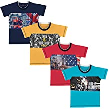 Luke and Lilly Boys Cotton Multicoloured Round Neck T-Shirt - Pack of 4