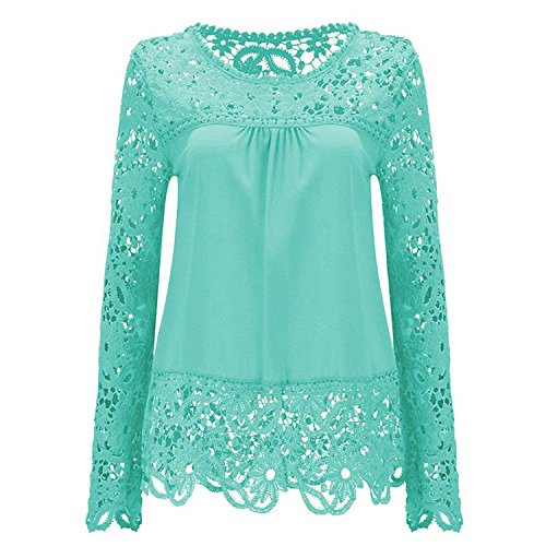 Magliette Donna Taglie Forti Eleganti Pizzo T Shirt Primavera Autunno Manica Lunga Rotondo Collo Top Ragazza Slim Fit Trasparente Casual Luce Blu
