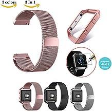 Chok Idea Correa de recambio para Fitbit Blaze, incluye 2protectores de pantalla de cristal templado, marco de metal, cierre magnético, correa de estilo milanés de acero inoxidable, 3colores