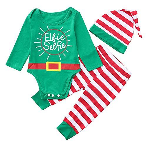 Babykleidung Shopaholic0709 Baby Kleidung Set Baby (6-24M) Elkie Selfie Weihnachtsbaby-Buchstabe-Druck-Lange Hülsen-Spielanzug + Gestreifte Hosen + Hut-dreiteiliges Gesetztes Grün