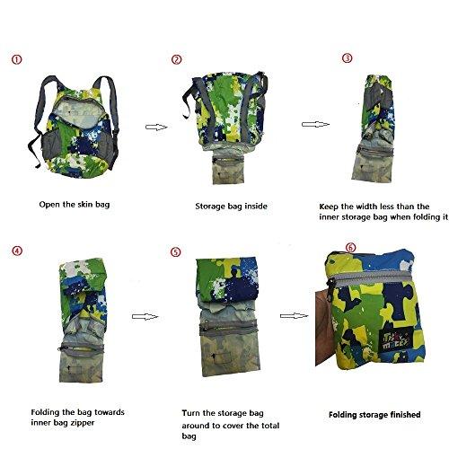 Ultra leggero Camouflage Hiking Zaini Trekking Rucksack Pieghevole Packable Daypack zaino Borsa a tracolla Nylon impermeabile Outdoor Sport Unisex Ciclaggio Scuola Roomy Lunga School Traveling 15L Blue Orange Letters