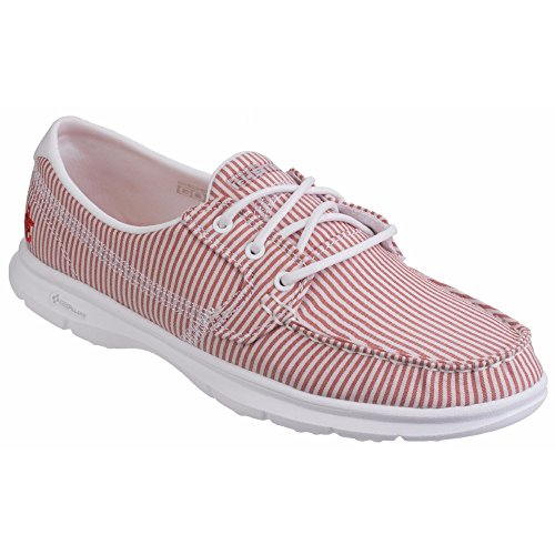 Skechers Go Step-Sandy, Scarpe da Barca Donna Rosso/Bianco
