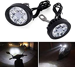 Motorcycle Bike 6 LED Handle Mirror Mount AUX Spot Fog Light Waterproof Front Head Lamp Set Of 2 For Royal Enfield Himalayan