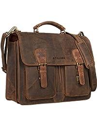 STILORD Vintage Portafolio piel marrón Grande / Bolso del profesor / XL Maletín de Piel / Bolso de negocios / Portafolio Hombres, Laptops 15.6 marrón medio