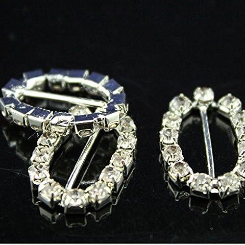 Generic Diamant Strass Band Schnallen 50?Ellipse Geschenk Hochzeit Dekoration, Einladung Hochzeit Geschenk, weddong Zubeh?r, HQ
