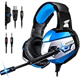 Gaming headset, K5 Gaming-Kopfhörer Over-Ear Kopfhörer Gaming-Stereo-3,5 mm mit Mikrofon und Lautstärkeregler LED-Licht für Laptop Tablet Handys PC PS4 Xbox One Stirnband mit Kabel Splitter (blau)