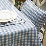 BLUELSS Neue mediterrane Tischdecke blau karierte Tischdecke Europäischen Vertrag garngefärbt Tischdecke Abdeckung Quadratische Tischdecke, Blau, 90 x 172 cm