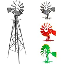 Gigantisches Windrad im US-Style aus Stahl, Höhe 245cm, Rotor 55cm, kugelgelagert, Farben silber, rot, grün