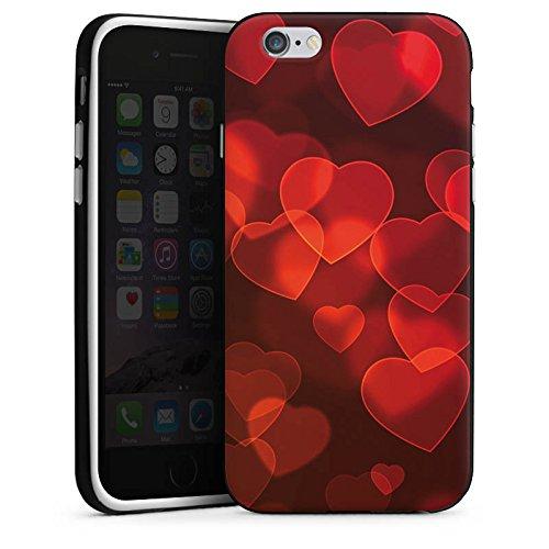 Apple iPhone X Silikon Hülle Case Schutzhülle verblasste Herz Muster Rot Silikon Case schwarz / weiß