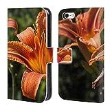 Head Case Designs Offizielle PLdesign Orangen Gelbe Feuer Lilie Blumen Und Blaetter Brieftasche Handyhülle aus Leder für iPhone 5c