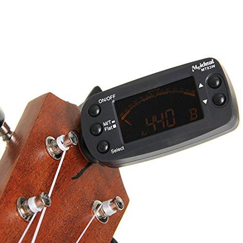MT832en 1Clip On Metrónomo Beat Tempo sintonizador para guitarra cromática Bass Violín
