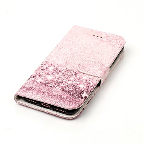 iPhone 7 Flip Handycover, iPhone 7 Bunte Stil Schutzhüllen, Aeeque® Slim Full Body Premium [Standfunktion Kartenfächer] Luxus Glänzend Funkeln Diamant Muster Handy Schutz Hülle Wallet Case Cover Schal Marmor Rosa Mädchen