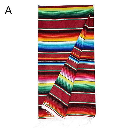 Presentimer Quaste Tischdecke mexikanischen Stil Farbe gestreiften Schal Karneval Strand Decke Regenbogen Muster Sofa Stuhl Abdeckung Bettwäsche Küche Party Hochzeit Dekoration