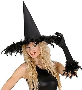 WIDMANN Sombrero bruja con plumas para adulto, color negro, talla única, vd-wdm2895p