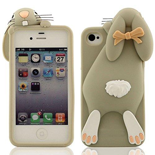 Morbida Premio Silicone Gel Protective Case per Apple iPhone 4 iPhone 4S iPhone 4G Bella Carino Piccolo Coniglio Design Serie 3D Modellismo - Lilla Grigio