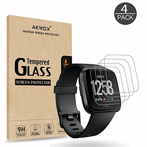 AKWOX [4 Unidades] Protector Pantalla Fitbit Versa