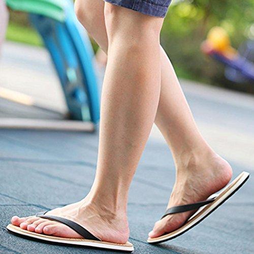 Fulltime®Hommes Beach Summer Flip Flops Chaussures Sandales Zipper Flip-flops Noir