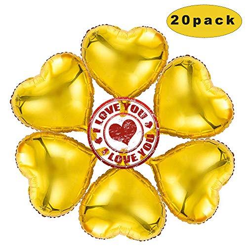 Sunshine smile 20 STK 18 Zoll Gold Herz Folienballon,Herz Helium Luftballons,Folienballon Hochzeit ,Folienluftballon,Herz Ballons (Gold)
