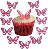 Toppercake Edible Wafer Butterfly Cup Cake Decorations Bright Pink