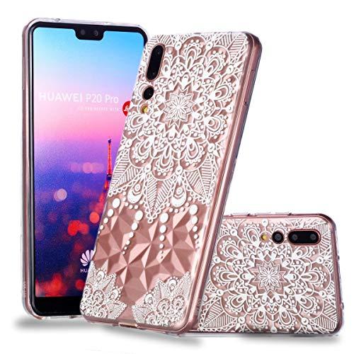 Nadoli Durchsichtige Schutzhülle für Huawei P20 Pro,Weiß Mandala Blumen Rautenmuster Silikon TPU Transparent Ultra Dünn Stoßfes Kratzfest Weich Back Handyhülle Cover für Huawei P20 Pro