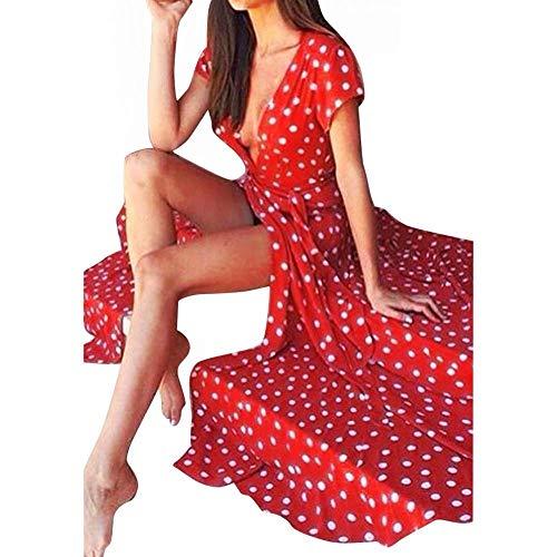 YEBIRAL Damen Bodenlänge V-Ausschnitt Kurzarm Polka Punkt Sexy Abendkleider Abschlussball Karneval Lange Kleider(XX-Large,Rot)