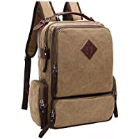 VRIKOO Retro Unisex Canvas Casual Daypacks Travel Rucksack Fashion School Bag Laptop Backpack (Yellowish-brown) 9v4gKbeO