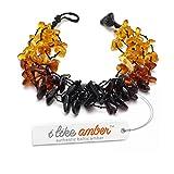 Bracelet Femme - Bracelet d' Ambre Femme - Élastique - miel & cognac & cerise ambre de la Baltique. Un bijou discret et naturel en ambre véritable