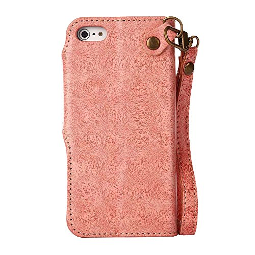 Custodia iPhone 5 / 5S / SE, COOSTOREEU Retro Embossed Roses Magnetic Slotted Wallet Case+ Cinghia di Polso Smontabile Progettazione per Apple iPhone 5 / 5S / SE, Blu Rosa