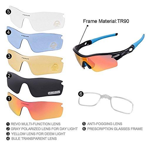 len Ubreakable TR90 Rahmen Unisex Polarisierte Sport-Sonnenbrille mit Wechselobjektiven 5pcs Radfahren Baseball Laufen Angeln Driving Golf für Männer Frauen Laufen Radfahren Angeln ()