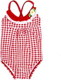 Baby Girl Swimsuit One Piece Toddler Bikini Cross Back Red Grid 1 a 2 años