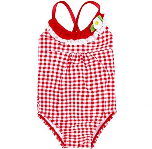 Mädchen Strand Badeanzug One Piece Red Plaid Badeanzüge Kleinkind Baby 1Yrs