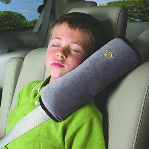 Kinder Baby Auto Kissen, Youson Girl Baby Schulterschutz Kissen Abnehmbar Kinderautositz Sicherheitsgürtel Pillow Nackenstützkissen Sicherheitsgurt Schulterpolster Kopfstütze Schlafkissen für Kinder (grau)