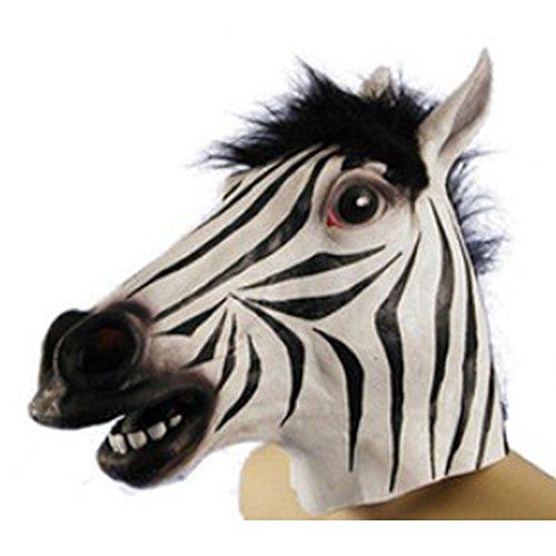ZSMPY Maschera di Halloween Maschera di Lattice Set Maschera di Testa di Zebra Maschera di Gomma di Copricapo di Unicorno
