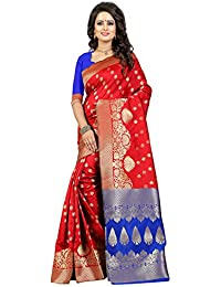 J B Fashion Women's Silk Red-blue Saree With Blouse Piece