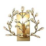 Kristall Wandleuchte, Gang Schlafzimmer Luxus Wandleuchte E14 Persönlichkeit Wohnzimmer Nachtwandleuchte Moderne Kristall Blume Metall Wandleuchte (Farbe: Gold, Silber),Gold