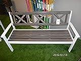 Metal Garden Bench Park Bench Pine Wood Grey/White 159,5inches