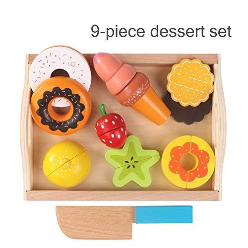 xihuanjia Kinder Holztablett magnetische Obst und Gemüse geschnitten, um zu sehen, Check Le Home Spielzeug 9 Dessert-Sets 9 Dessert