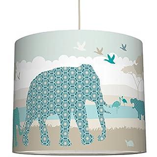 anna wand Lampenschirm HELLO AFRICA TÜRKIS/BLAU/GRAU - Schirm für Kinder / Baby Lampe mit Tieren aus Afrika in versch. Farben – Sanftes Licht für Tisch-, Steh- & Hängelampe im Kinderzimmer Mädchen & Junge