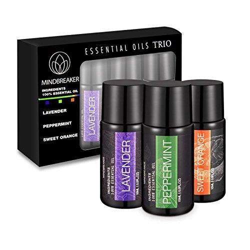 Aceites esenciales de la aromaterapia de la belleza natural - Grado terapéutico de Mindbreaker 100% puro para el difusor, humidificador incluyendo la lavanda, hierbabuena, garantía anaranjada