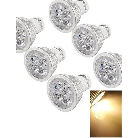 XMQC*6pz. 4W regolabile 400 3000K luce a 4 LED - Argento ( 110V) , (120 Volt 4 Catena Luce)