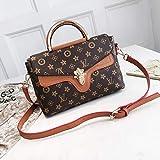 Taschen WomenSimple und stilvolle One-Shoulder-Crossbody-Handtasche gedruckt Letter Lock Bag, Karamellfarbe