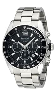 Accurist Men's Quartz Watch with Black Dial Chronograph Display and Silver Stainless Steel Bracelet Mb936Bb
