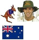 Australischer Flagge und Kork, Hut, Kostüm-Aufblasbares Känguru