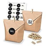 DIY itenga AdventskalenderSet zum Selberbefüllen Geschenktüten + Klammern + Sticker (Adventskalenderzahlen) (Motiv Z23 Zahlen geschrieben/Schwarz Weiß)