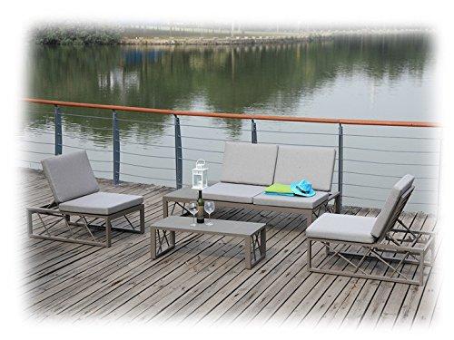 AVA Gartenmöbel Lounge Gartenset 9-teilig Zebra Taupe & Grau - Lounge Zebra